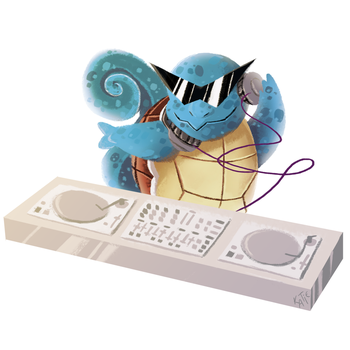Commission - DJing Squirtle by katiepox