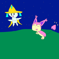 Skitty and Jirachi by SuperSmashCynderLum