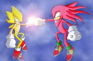 Super Sonic and super Knuckles by princesayuuki