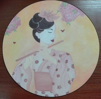 Geisha Playing The Flute by AnneMarie1986