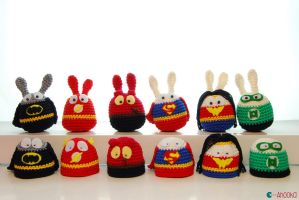 DC comics Easter superheroes by Ahookamigurumi