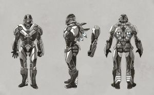 Commission: SuperArmors model sheet - 3 - BW by Dr-Manhttan