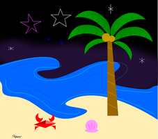 beach with the stars by Sar-Annero