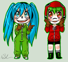 vocaloid - matryoshka miku and gumi by megomobile
