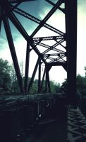 Abandoned railroad bridge by jb00bs