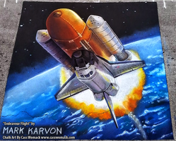 Endeavour Flight Chalk Art by Cass Womack by markkarvon