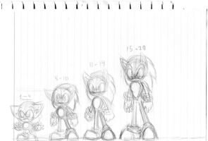 Sonic Age Progression WIP by Chicaaaaa