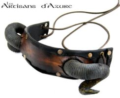 Headband with ram horns by ArtisansdAzure