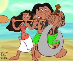 Moana and Maui by Ben-the-looney