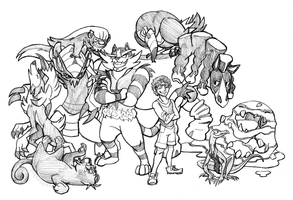 Pokemon Moon gang by Xiphosuras