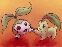 Tanemon and Chikorita by VerminFu