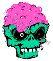 ZOMBIE SKULL STICKER DESIGN by ELECTRICPOPPERS