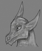 Dragon headshoot black white by Kamixazia