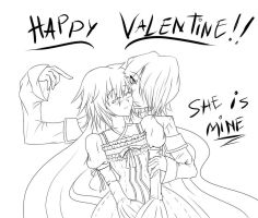 Happy Valentine :D! (Lineart) by juli12355