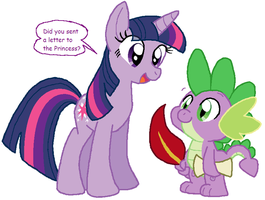 Twi and Spike by HeartinaThePony