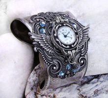Steampunk Watch -Silver+Aqua 3 by Aranwen