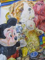 An A2 coursework painting of toys by SonicFanLegend
