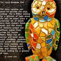 the lonly rainbow owl by 9madgirl9