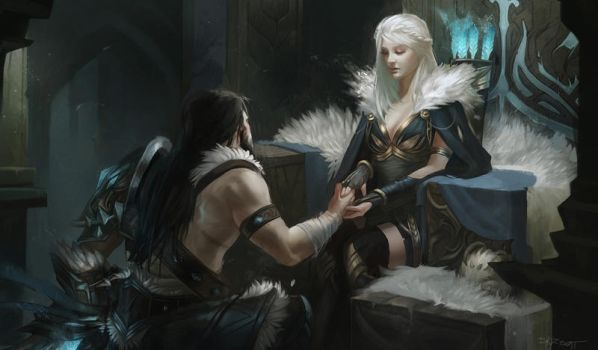 The proposal - Ashe and Tryndamere by Skyzocat