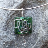 Glass Wirework Pendant 008 by DarkFireRaven