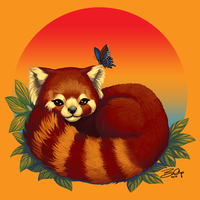 Red Panda Has Blue Butterfly Friend by Sobii