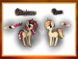 Valentine and Neo Reference Sheet by Ambercatlucky2