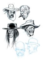 Cowboy doodles by angryrooster