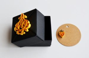 Black Origami Gift Box with Gold-Yellow Quilling by ReverseCascade