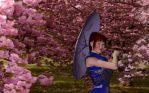 Walking amongst the Chery Blossoms by Aura-Dawn