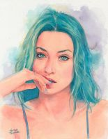 Bluehair Watercolor Portrait by Trunnec
