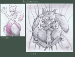 Draw this Again! Mewtwo by ConkerTSquirrel