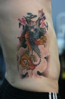 Skeletal Koi by Lucky-Cat-Tattoo