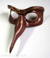 Beaked leather domino mask in oxblood and gold by shmeeden