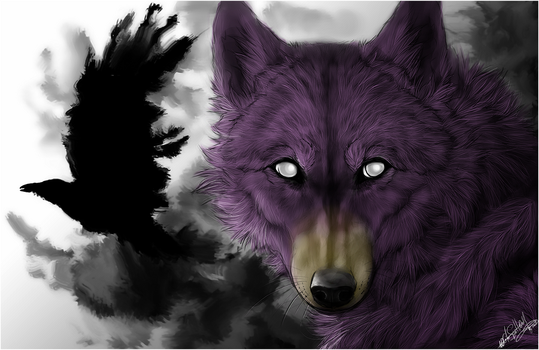 .:Blind Wolf and Raven:. by WhiteSpiritWolf