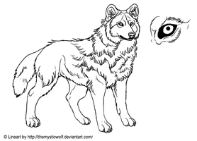 :Wolf Lineart: by TheMysticWolf