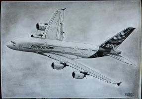 Airbus A380 drawing by alainmi