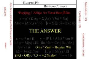The Answer Belgian Wit by OldFashionedCowboy