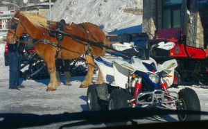 Old and new style snow vehicle by Landskapers