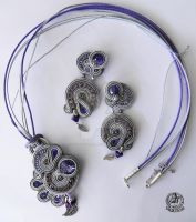 Soutache  set earrings and pendant in Grey by caricatalia