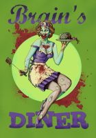 Zombie Girl at Brain's Diner by Green-Jet