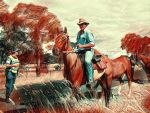 Man on Horseback taking Horse out  Fires 2017 by Differance7
