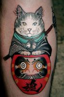 Daruma Samurai Cat Tattoo. by LewisBuckleyArt