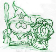 Wizard Cartman and Princess Kenny Sketch by Sarasaland-Dragon