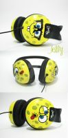 Spongebob Headphone by PoppinCustomArt