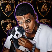 Chris Brown oil painting by SaraSam89