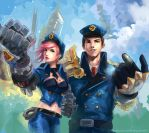 Officers Vi + Jayce by Arlequinne