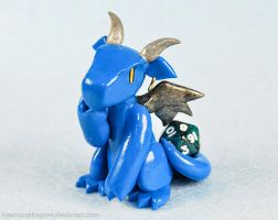 Pensive Blue D20 Dragon by HowManyDragons