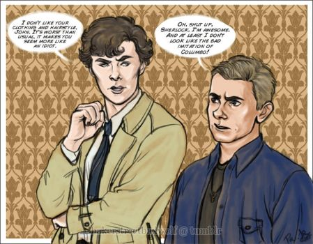 Sherlock and John - For letsdrawsherlock by ScarletMoonbeam