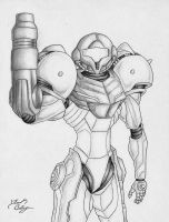 Samus Aran Pencil Drawing by dsx100