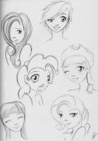 MLP FiM - Humanized Sketches by AShadowofTruth